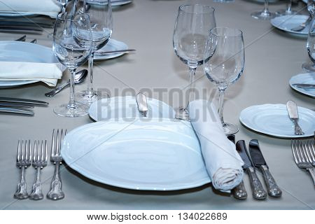served banquet table set at the restaurant