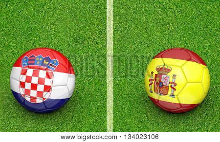 Team balls for Croatia vs Spain football tournament match, 3D rendering
