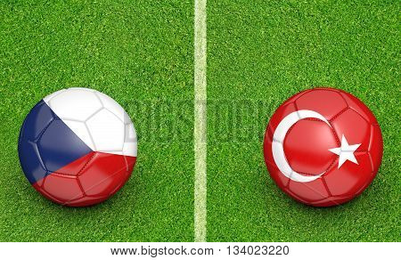 Team balls for Czech Republic vs Turkey football tournament match, 3D rendering