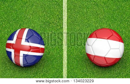 Team balls for Iceland vs Austria football tournament match, 3D rendering