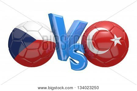 Football competition between national teams Czech Republic and Turkey, 3D rendering