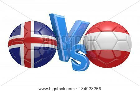 Football competition between national teams Iceland and Austria, 3D rendering