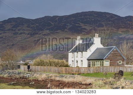 Beautiful Rainbow And House