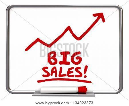 Big Sales More Selling Arrow Up Words 3d Illustration