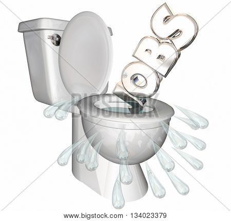 Jobs Cut Recession Downsizing Flush Toilet 3d Illustration