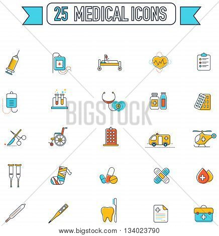 Flat line color medical physicians and hospital tool equipment sign and symbol icon collection set create by vector