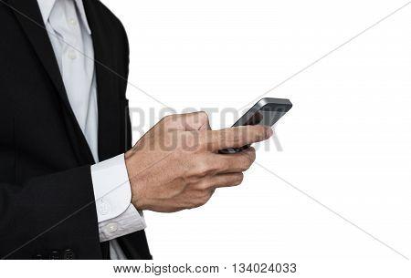 Businessman using mobile phone, isolated on white background
