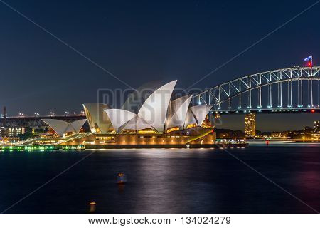 Sydney Opera And Harbour Bridge At Night