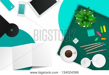 Office and working space product mockup template layout background with many objects and tools create by vector