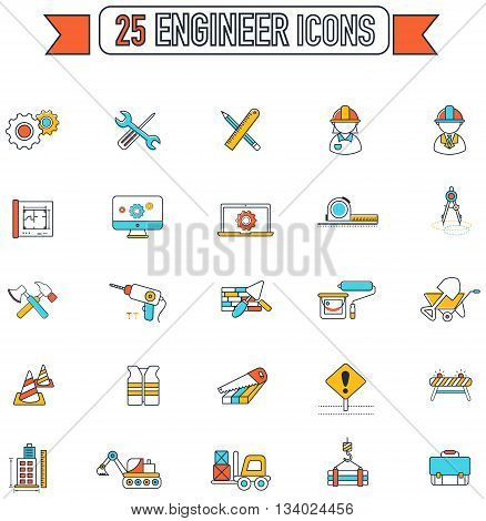Flat line color civil engineering and construction site industry graphic tool equipment sign and symbol icon collection set create by vector