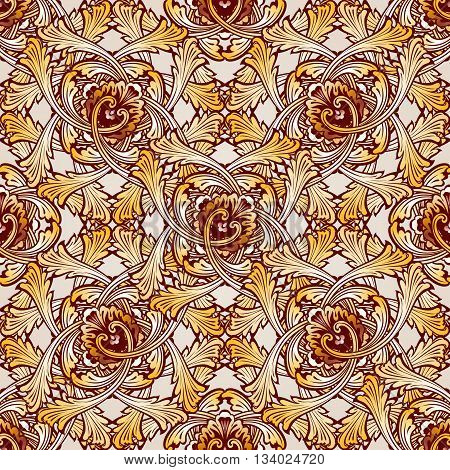 Very saturated seamless abstract floral pattern in the form of vine