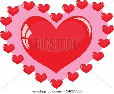 red heart on a pink background surrounded by little hearts