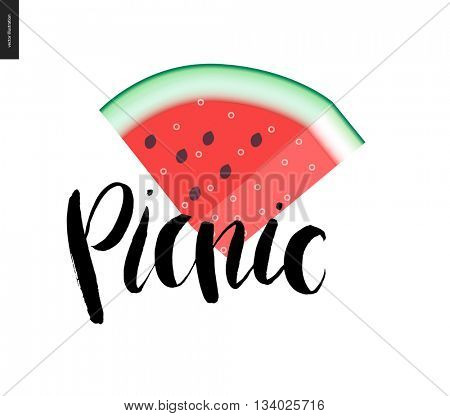 Picnic lettering and a slice of watermelon - a vector cartoon black brush hand written lettering in russian Picnic on summer