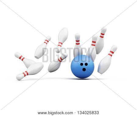 Bowling ball smashes into the pins on white background. Falling skittles. 3d rendering