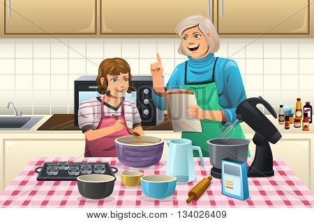 A vector illustration of grandmother preparing cookies with her grandchild in the kitchen