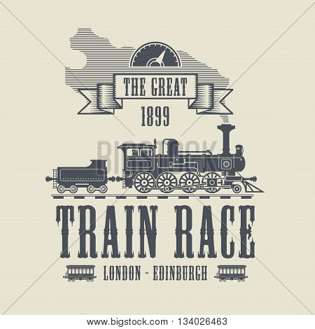 Train Race abstract label design, vector illustration