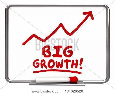 Big Growth Arrow Rising Improve Increase Words 3d Illustration