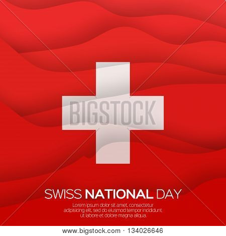 Abstract Swiss National day. Switzerland Independence Day. Origami Swiss Flag International Day background. Paper cut Flyer design concept for 1 August. Applique Vector Illustration