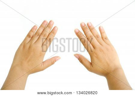 Close up woman hand isolated on white background