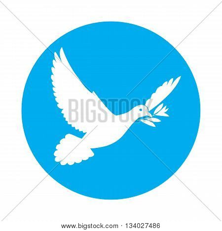 Flat icon of white dove of peace with olive branch in its beak