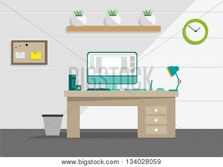 Clean Interior office concept with computer and household tools. Editable Clip Art.