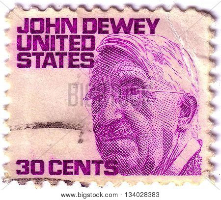 United States Of America - Circa 1980: A Stamp Printed In Usa Shows John Dewey, An American Philosop