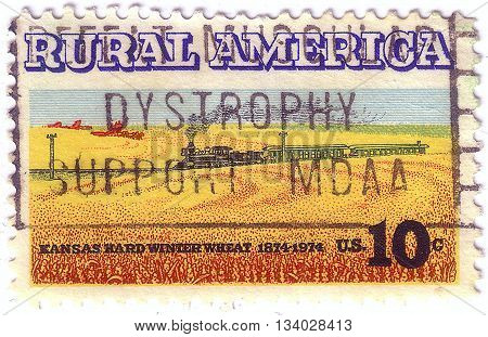 Usa - Circa 1974: A Stamp Printed In Usa Shows The Wheat Fields And Train, Rural America Issue, Circ