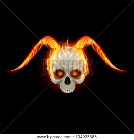 Burning skull with fire horns and no lower jaw