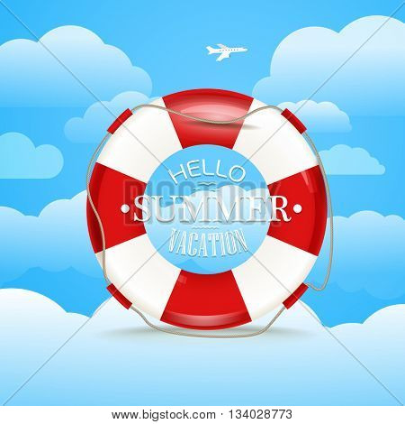 Vacation travelling concept. Flat illustration with Hello summer logo