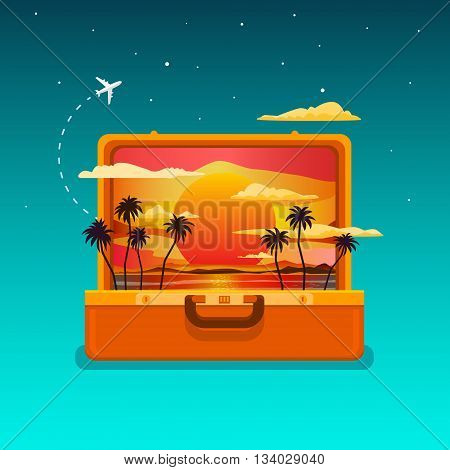Concept of travel. Open orange suitcase with sunset and palm trees. Flat design, vector illustration.