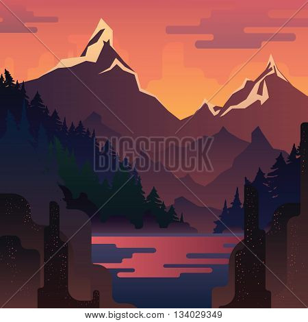 Vector sunset landscape with huge red mountains and lake.