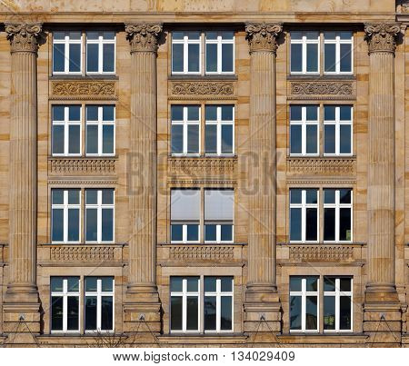 facade of old house gives a harmonic pattern