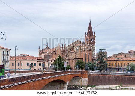 The Church Of San Fermo Maggiore On The Adige River