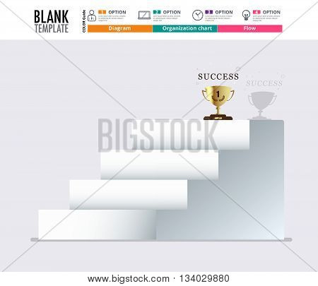 Stair To Success  Infographic Design Template For Replace Text, Stair Diagram, Stair Step Up Diagram