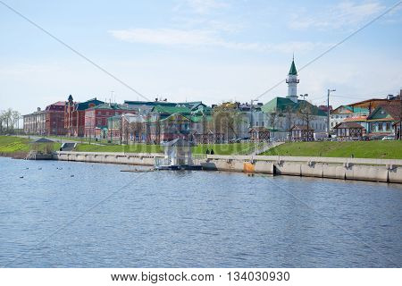 KAZAN, RUSSIA - MAY 02, 2016: View of the Tartar Village with lake Nizhny Kaban. Historical landmark of the city Kazan, Tatarstan