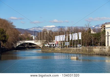 Sochi, Russia - February 9, 2016: The Sochi is a river in the city of Sochi in Krasnodar Krai, Russia