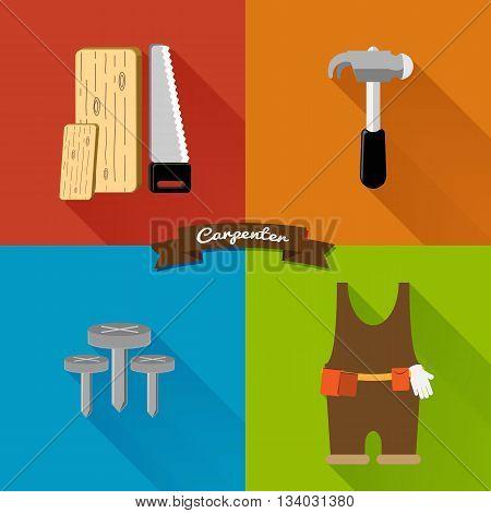 Flat Design Carpenter tool Set colorful, vector icon