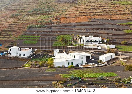 YAIZA, SPAIN - June 3, 2011: farmhouse in rural hilly area in Lanzarote