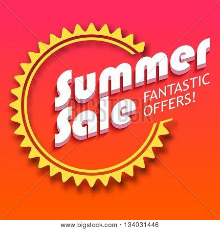 Summer sale advertisement, fantastic offers. Colorful expressive, attention-drawing banner with hot, red background. Vector editable symbol, easy to change size