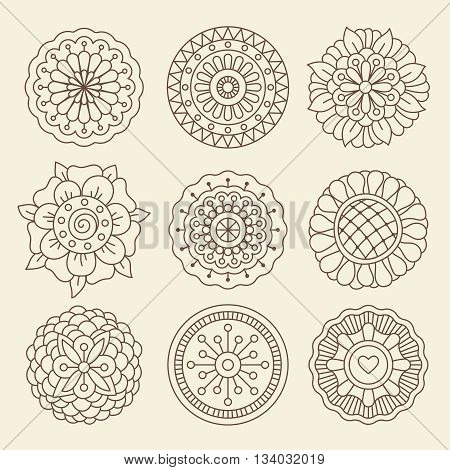 Vector floral set in moroccan design. Graphic collection with mehndi indian henna tattoo flowers