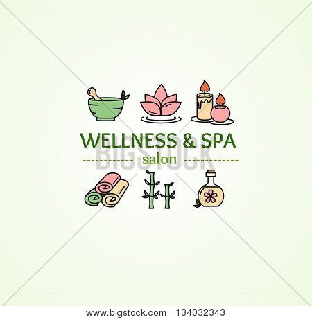 Spa Concept with Icons Set on Background for Salon. Vector illustration