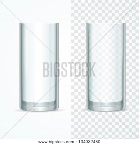 Glass Set for Milk, Water, Drink on White and Transparent Background. Vector illustration