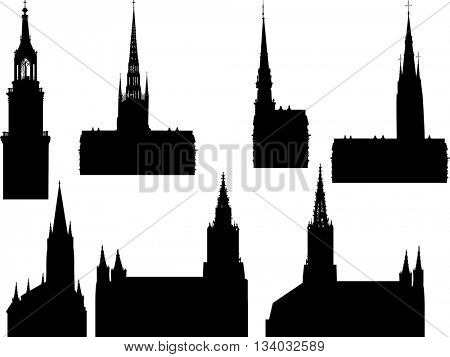 illustration with cathedral silhouettes collection isolated on white background