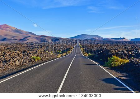 Road Between Rocks  In Timanfaya National Park
