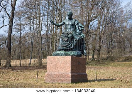 SAINT PETERSBURG, RUSSIA - APRIL 17, 2016: The sculpture of the Roman Emperor Nerves in the Catherine Park, april day. Landmark of the Tsarskoye Selo