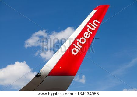 BERLIN / GERMANY - JUNE 3 2016: Airbus A 321-211 from air berlin stands on airport in schoenefeld berlin / germany at june 3 2016.