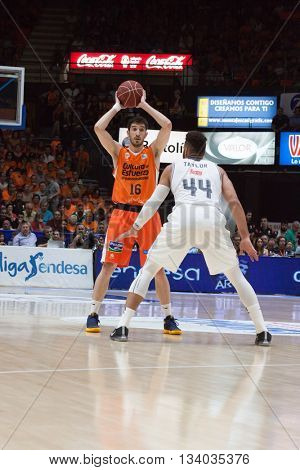 VALENCIA, SPAIN - JUNE 9th: Vives (16) and Taylor during 4th playoff match between Valencia Basket and Real Madrid at Fonteta Stadium on June 9, 2016 in Valencia, Spain