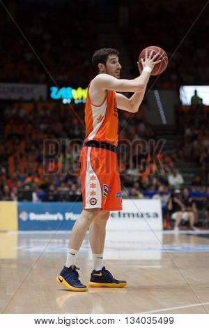 VALENCIA, SPAIN - JUNE 9th: Vives during 4th playoff match between Valencia Basket and Real Madrid at Fonteta Stadium on June 9, 2016 in Valencia, Spain