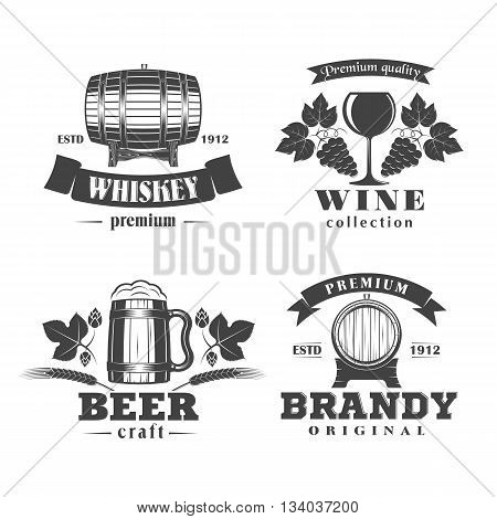 vector illustration set of alcohol signs labels and badges - beer, wine, whiskey, brandy, on a white background