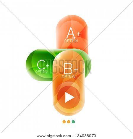 Capsule business option infographics. Vector presentation element